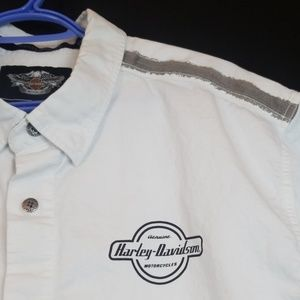 Harley-Davidson white 2x plus men button down Rk